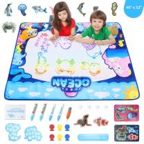 """Theefun Aqua Magic Mat, 40"""" x 32"""" Water Drawing Mat for Toddlers - Extra Large Painting Board Toys with 6 Magic Stamps, 5 Magic Water Pens and Drawing Accessories for Girls Boys"""