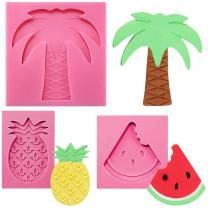 FUNSHOWCASE Coconut Tree Pineapple Watermelon Aloha Tropical Holiday Beach Party Fondant Silicone Mold for Sugarcraft, Cupcake Topper, Jewelry Making, Polymer Clay Crafting Projects 3-Count