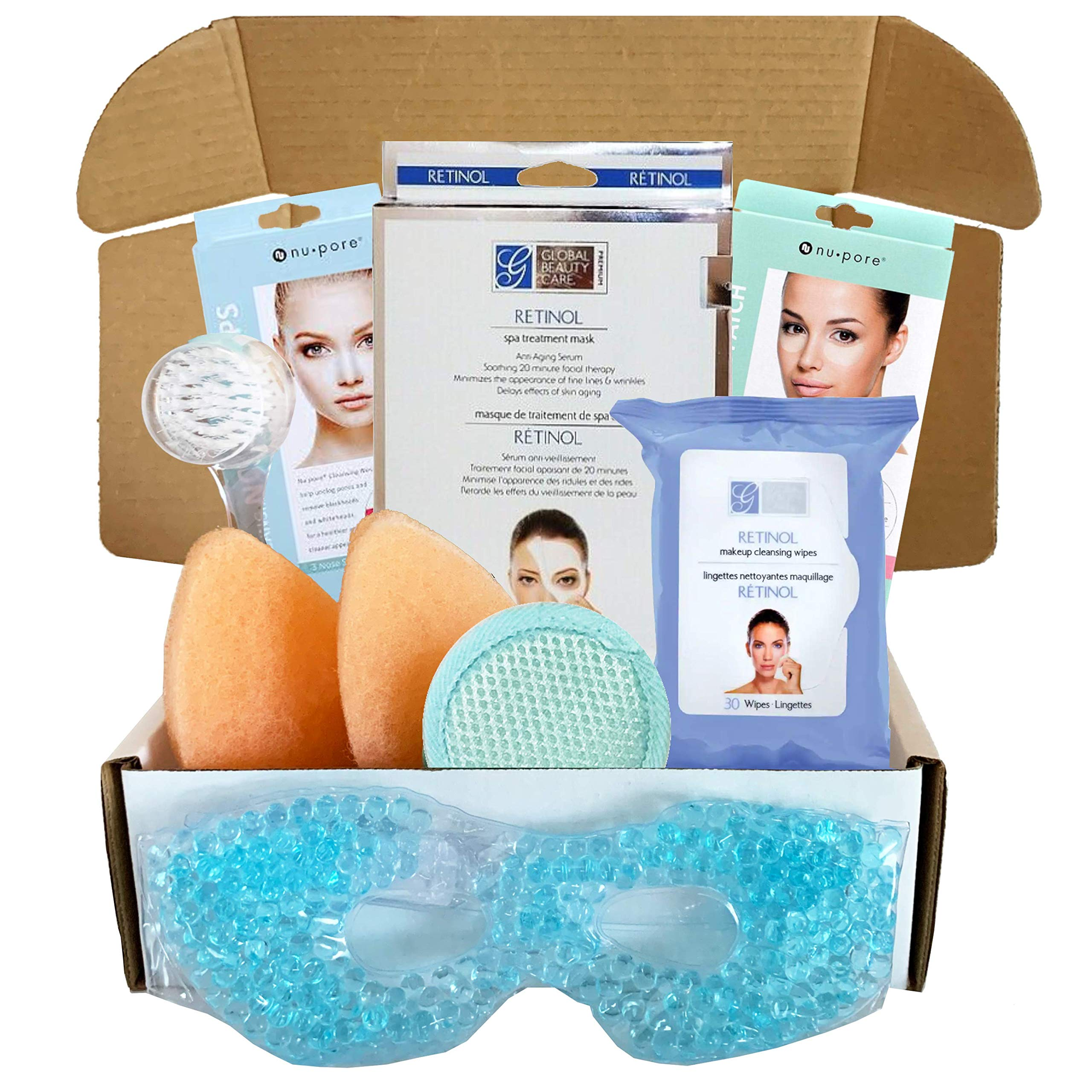 Facial Kit For Women - Includes Retinol Spa Treatment Sheet Mask, Makeup Cleansing Wipes, Nose Strips, Facial Cleansers, Facial Cleansing Brush, More - Facial Kit (Retinol Facial Kit)