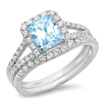 1.57ct Emerald Round Cut Pave Halo Split Shank Solitaire Accent Aquamarine Blue Simulated Diamond Designer Statement Classic Ring Band Set Real 14k White Gold