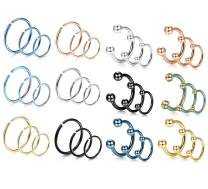 LOYALLOOK 36Pcs 20G 316L Stainless Steel Nose Ring Hoop Cartilage Hoop Septum Piercing 6-10mm Body Jewelry
