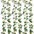 SHACOS Artificial Rose Garlands Set of 2 Rose Vines Leaves Hanging Rose Flower Vine Home Wedding Party Decor (Deep Champagne, 2)