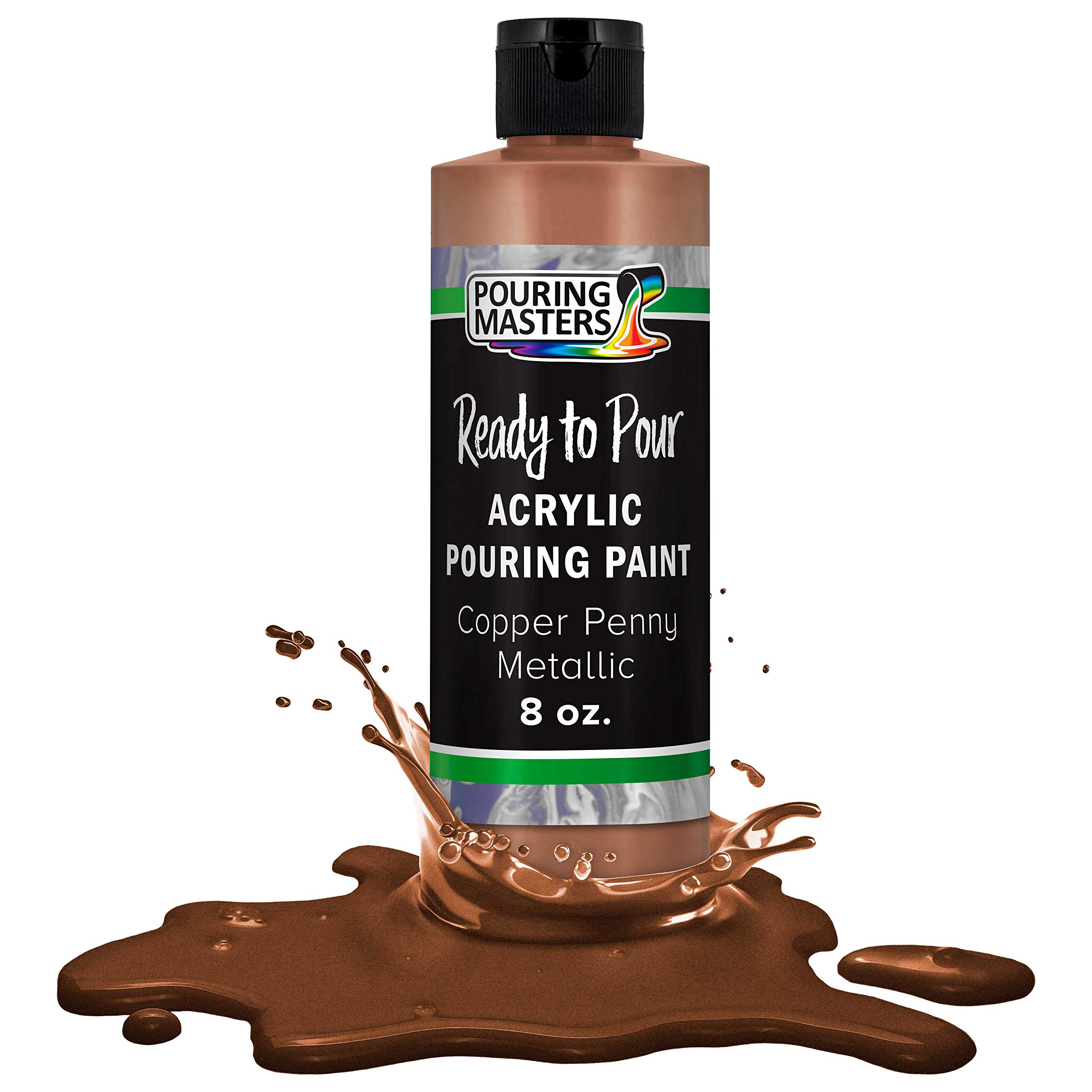 Pouring Masters Copper Penny Metallic Acrylic Ready to Pour Pouring Paint – Premium 8-Ounce Pre-Mixed Water-Based - for Canvas, Wood, Paper, Crafts, Tile, Rocks and More