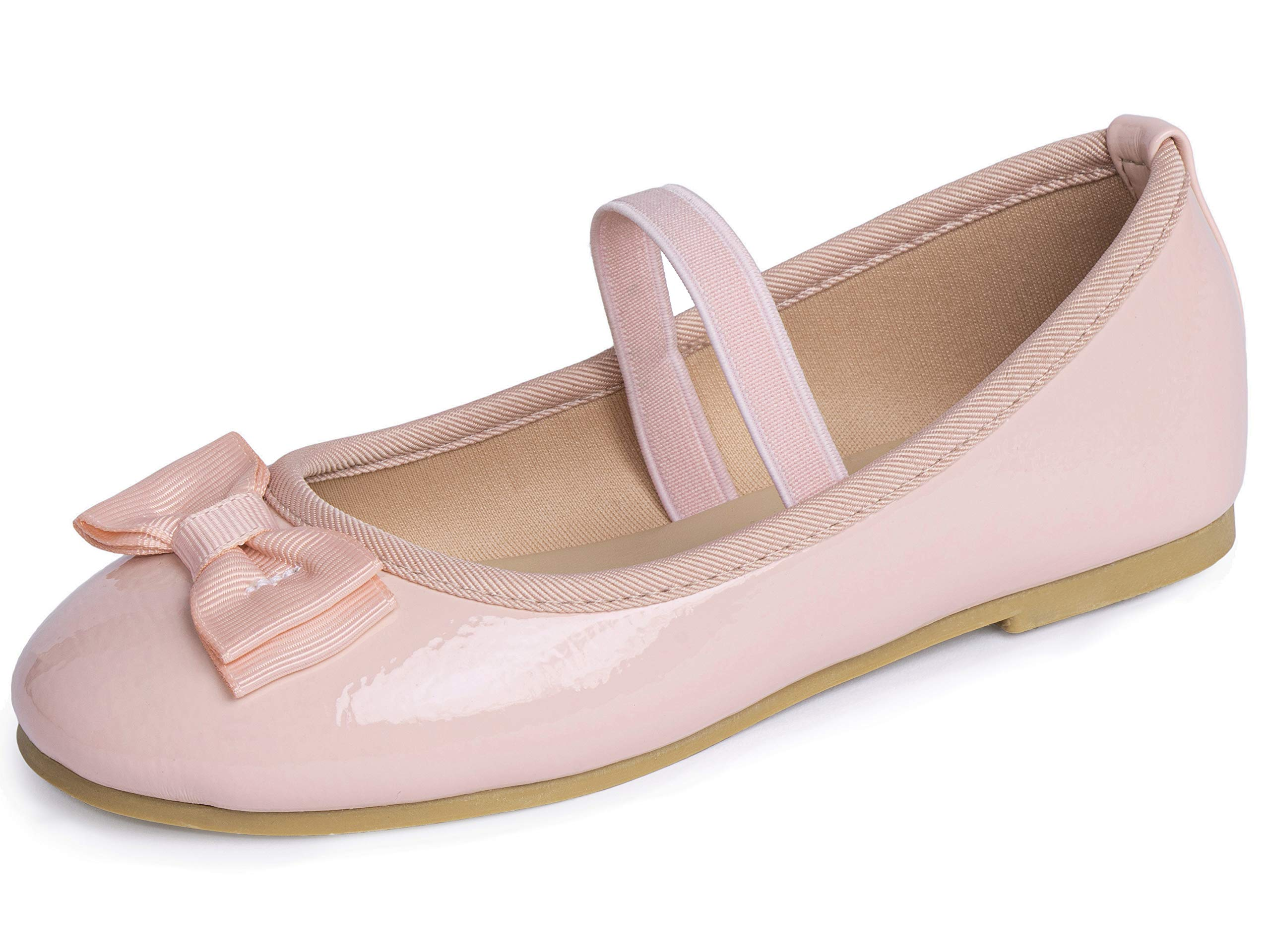 Otter MOMO Toddler Girls Ballet Flats Mary Jane Dress Shoes with Bow Knot Pink