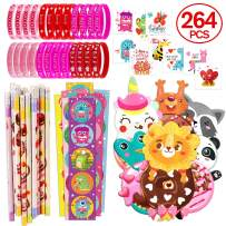 WAVEJOE 264PCS Valentines Day Party Favor for Kids Stationary Bulk with Bracelets, Pencils, Pencil Toppers, Stickers and Tattoos for Classroom Exchange Gift School Rewards Prizes Party Souvenirs