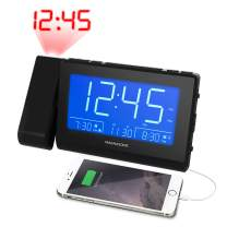 Magnasonic Bluetooth Speaker Alarm Clock Radio with Dual USB Charging for Smartphones & Tablets, Time Projection, Auto Dimming, Dual Alarm, Battery Backup, and Custom Alarm Recording (CR65)