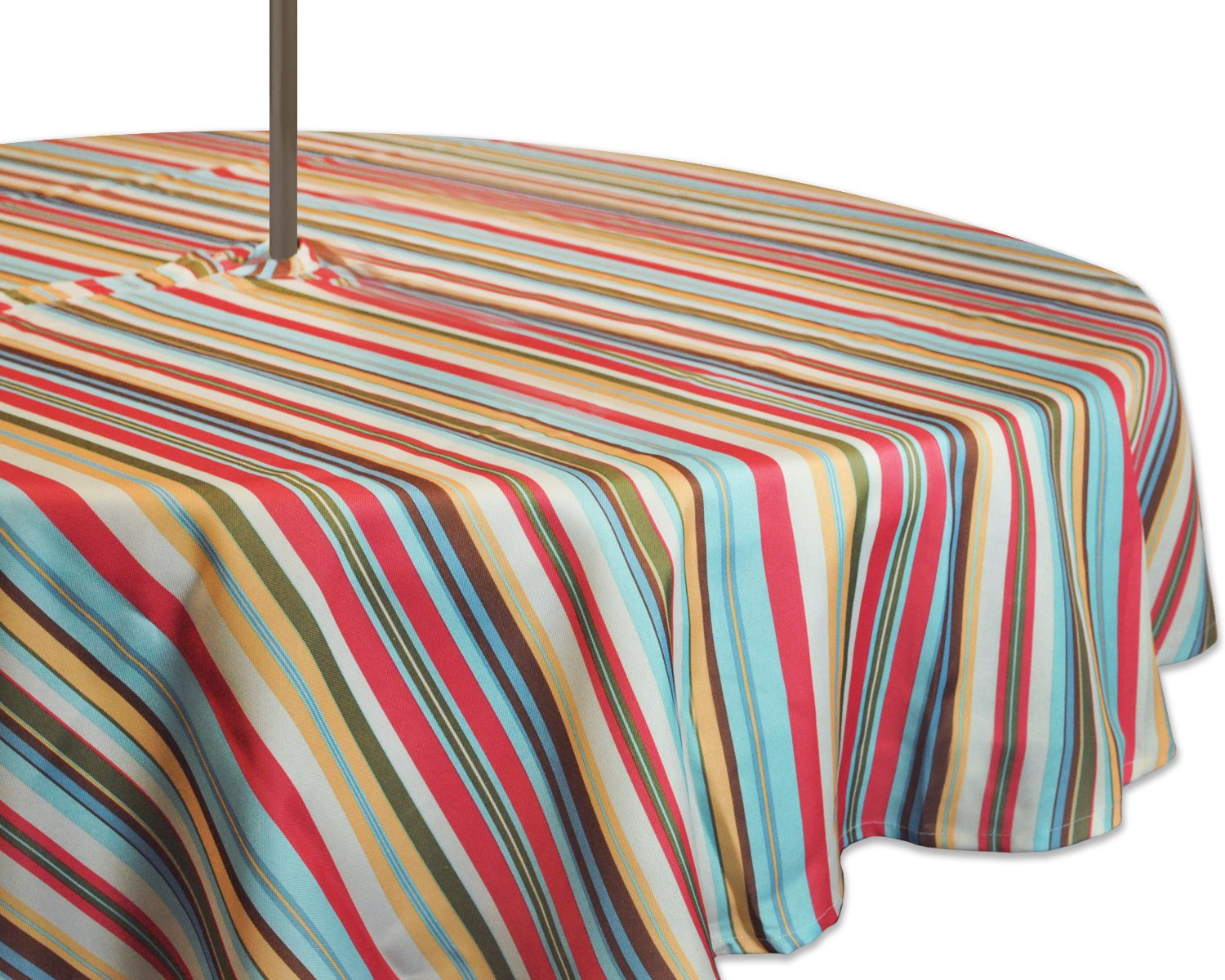 """DII 100% Polyester, Spill Proof, Machine Washable, Zipper Tablecloth for Outdoor Use with Umbrella Covered Tables, 52"""" Round, Warm Summer Stripe, Seats 4 People, w"""