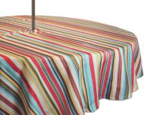 "DII 100% Polyester, Spill Proof, Machine Washable, Zipper Tablecloth for Outdoor Use with Umbrella Covered Tables, 52"" Round, Warm Summer Stripe, Seats 4 People, w"