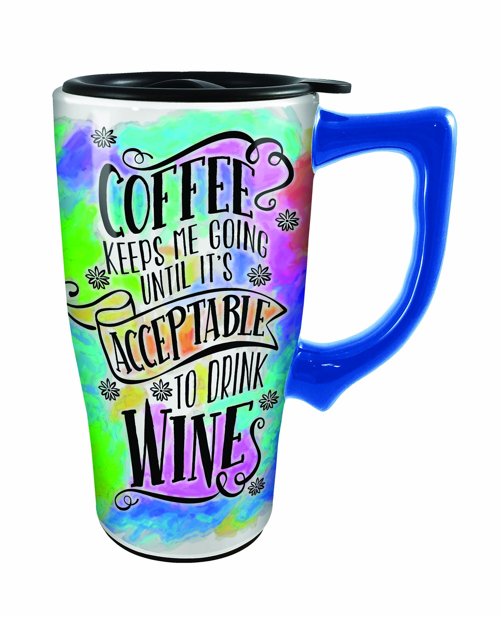 Spoontiques Coffee Keeps Me Going Travel Mug, Multicolor