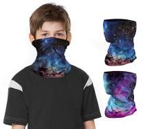 2 PCS Kids Face Mask Neck Gaiters Full-Coverage Bandanas Headband Tube Neck for Boys Girls