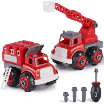 iPlay, iLearn Kids Fire Engine Truck Toys, Take Apart Assembly Play Set, Educational Rescue Ladder Vehicles toy W/ Screwdriver Tool, STEM Learning, Birthday Gifts for 3 4 5 6 7 Year Olds, Boys Toddler