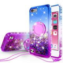SOGA Rhinestone Liquid Float Quicksand Cover Cute Girl Phone Case Compatible for iPod Touch 5/iPod Touch 6 Case, with Embedded Metal Diamond Ring for Magnetic Car Mounts and Lanyard - Blue on Purple
