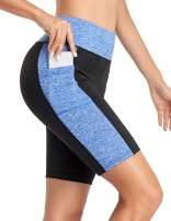 COOrun Bike Shorts Women's High Waist Yoga Short Workout Running Biking Bicycle Short Pants with Side Pockets
