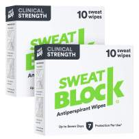 Sweatblock Clinical Strength Antiperspirant Wipes for Hyperhidrosis (2 Box Deal) - Reduce Sweat Up To 7-days Per Use - Antiperspirant For Men and Women