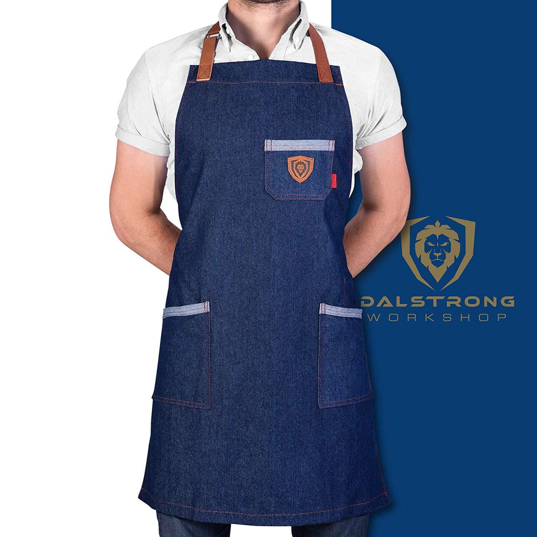 Dalstrong Professional Chef's Kitchen Apron - 100% Cotton Denim - 4 Storage Pockets - Liquid Repellent Coating - Genuine Leather Accents - Adjustable Straps (American Legend - 100% Cotton Blue Denim)