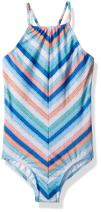 Seafolly Girls' Big Stripe Ruched Neck Tank Swimsuit