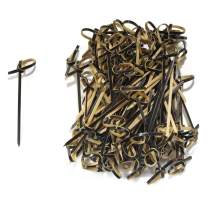 """BambooMN 3.5"""" Bamboo Black Knotted Knot Skewers Picks for Cocktails and Hors' D'oeuvres Party Supplies, 100 Pieces"""