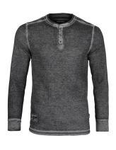 ZIMEGO Men's Vintage Burnout Garment Wash Long Sleeve Lightweight Thermal Henley