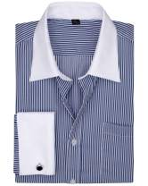 Milin Naco French Cuff Dress Shirt, Regular Fit Long Sleeve Tuxedo Men Shirts with Metal Cufflinks