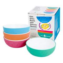 Elk and Friends Kids Tempered Glass White Bowls with Silicone Sleeve - Kids/Toddler/Baby Feeding bowls - Microwave & Dishwasher Safe - Tempered Glass - Non Slip - Cereal/Soup/Snack Dishes