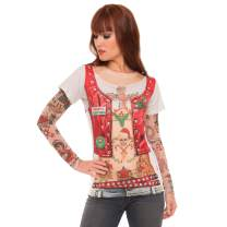 Faux Real Women's 3D Photo-Realistic Ugly Christmas Sweater Long Sleeve T-Shirt