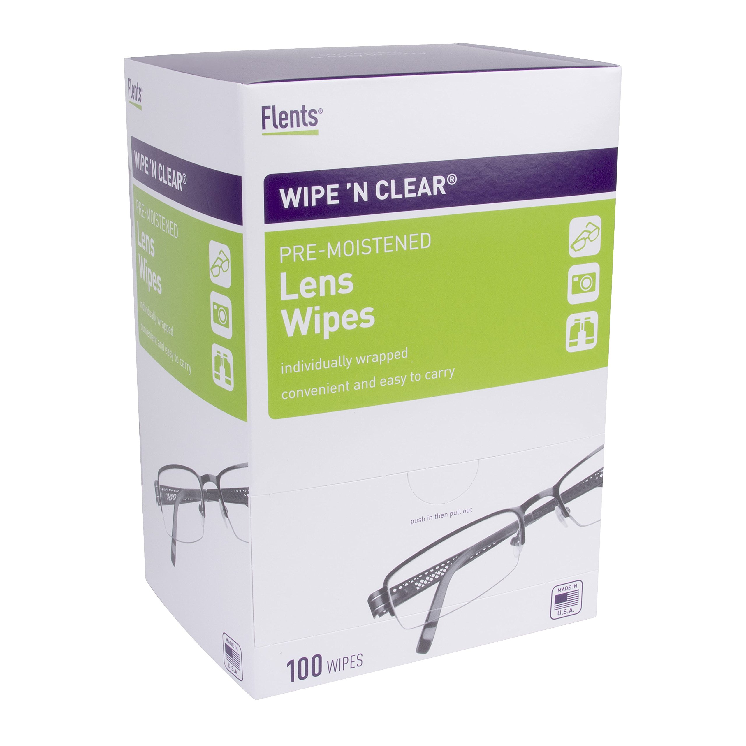 """Wipe'N Clear Lens Wipes by Flents, 100 Lens Cleaning Wipes, Anti-Streak & Fast Drying, 5""""x6"""", 4 Portable Boxed of 75 Wipes"""