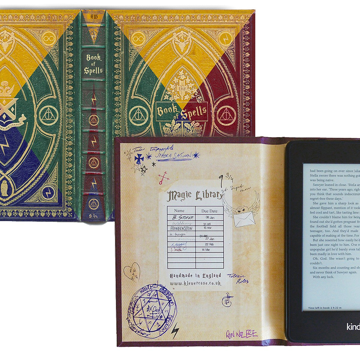 Kindle Paperwhite Case with Harry Potter Themed Foldback Book Cover (New Hogwarts 4 Colours)