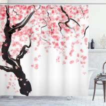 """Ambesonne Floral Shower Curtain, Dogwood Tree Blossom in Watercolor Painting Effect Spring Season Theme Pinkish Tones, Cloth Fabric Bathroom Decor Set with Hooks, 75"""" Long, Black Pink"""
