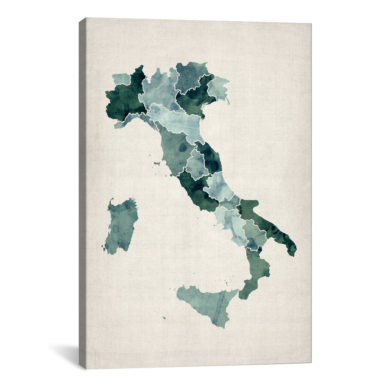 Icanvasart Watercolor Map Of Italy By Michael Tompsett Canvas Print 12856 40 X26 75 Inch Deep