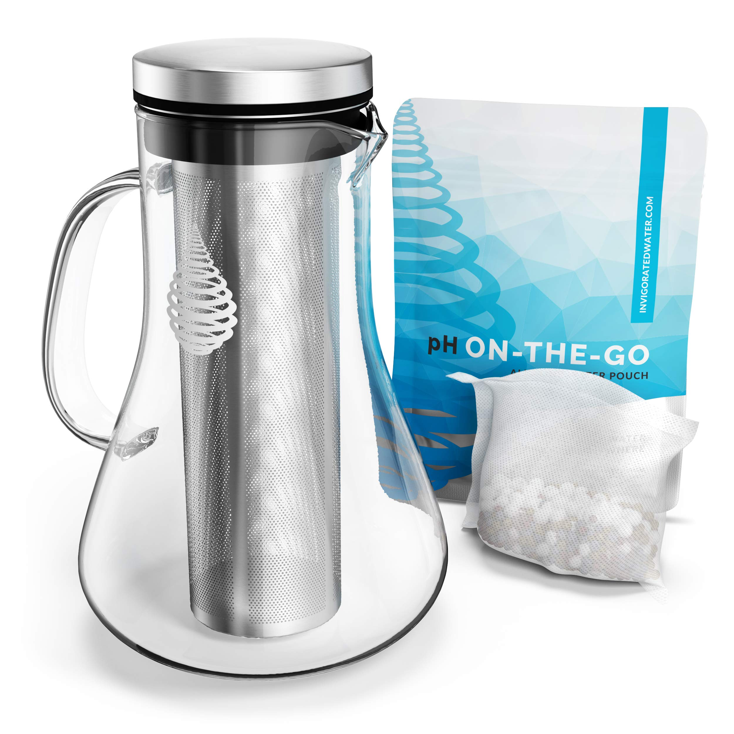 pH REPLENISH Glass Alkaline Water Pitcher - Alkaline Water Filter Pitcher by Invigorated Water - High pH Ionized Filtered Water Purifier - Includes Long Life Filter, New 2019 Model, 34oz (1000ml)