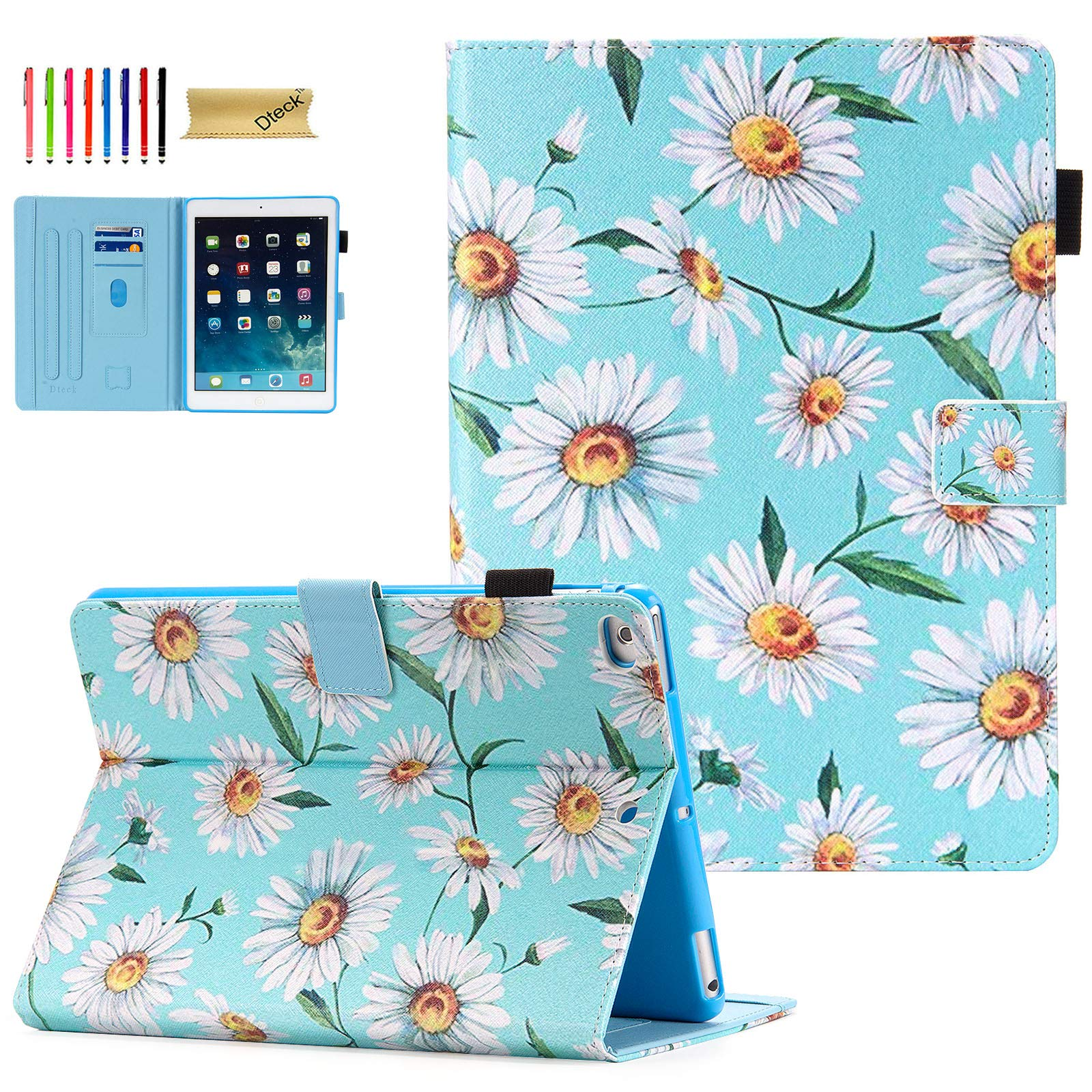 iPad 9.7 Case 2018/2017, iPad 6th/5th Gen Case with Pencil Holder, Dteck Premium Leather Folio Stand Case, Auto Wake/Sleep Magnetic Protective Cover for iPad 9.7 2018/2017, iPad Air 1/2, Daisy