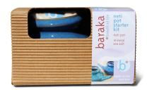 Baraka Neti Pot Starter Kit- Handcrafted Ceramic Dishwasher Safe Neti Pot with Box and 2 oz Mineral Sea Salt Rinse for Sinus Relief (Boxed Blue)