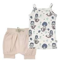 Finn + Emma Organic Cotton Baby Girl Dress with Bloomer Shorts – Mermaids, 3-6 Months