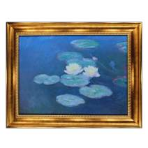 "UpperPin Water Lilies, Evening Effect by Claude Monet, Giclee Print Framed Painting on Canvas for Wall Decoration, Victorian Gold Frame, Size 32"" x 25"", Ready to Hang"