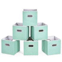 MaidMAX Cloth Storage Cubes, Cube Organizer Bins, Foldable Storage Baskets Containers with Dual Plastic Handles for Home Office Nursery Drawers Organizers, Aqua Chevron, 10.5×10.5×11 inches, Set of 6