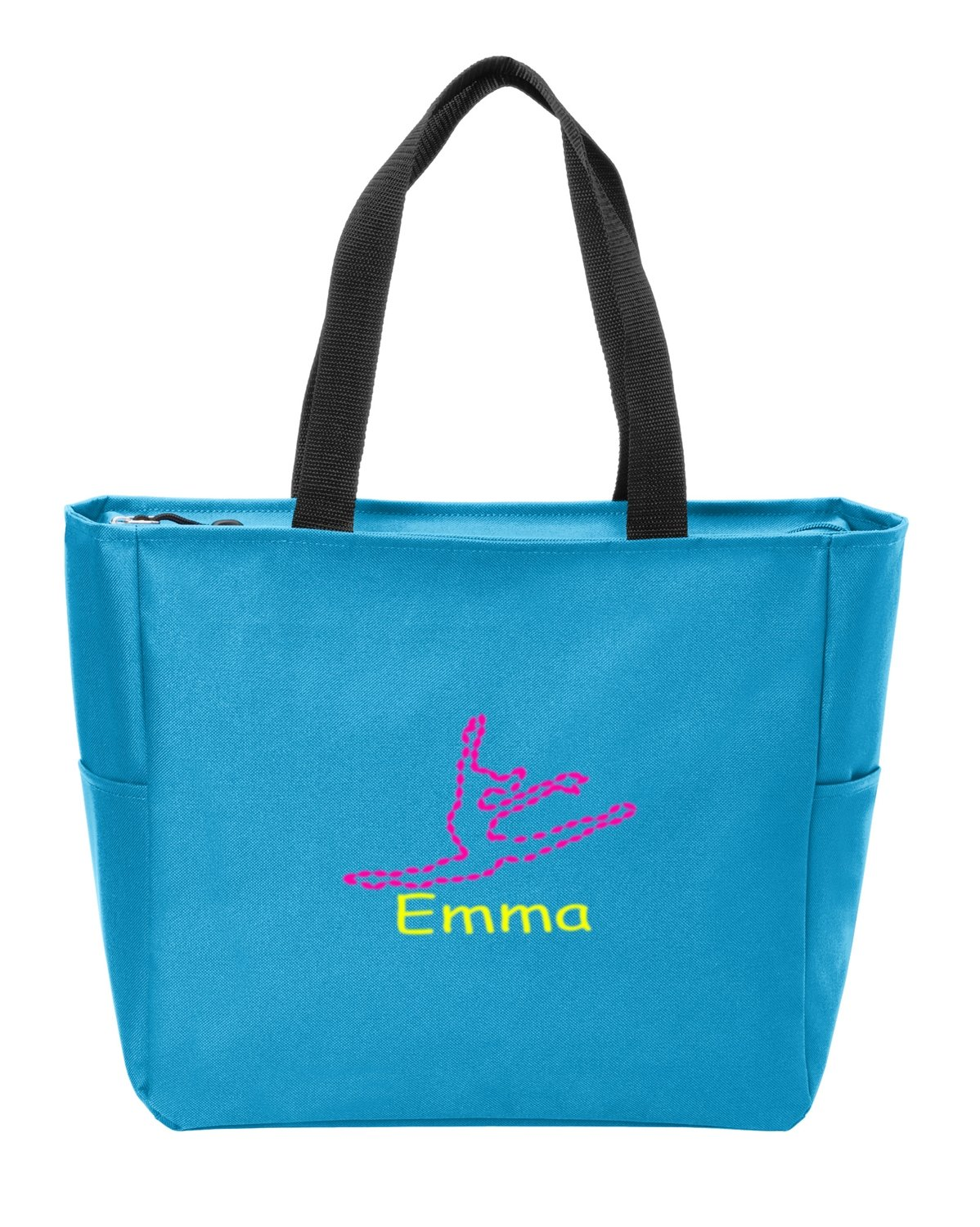 all about me company Essential Zip Tote | Personalized Dance Shoulder Bag (Turquoise)