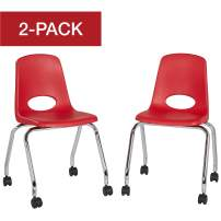"""Factory Direct Partners 18"""" Mobile School Chair with Wheels, Ergonomic Classroom and Office Seat for Kid/Teens/Adults - Red (2-Pack) (10372-RD)"""
