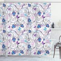 """Ambesonne Floral Shower Curtain, Abstract Dreamy Illustration of Flowers and Butterflies Swirling Design Branches, Cloth Fabric Bathroom Decor Set with Hooks, 70"""" Long, Purple Lilac"""