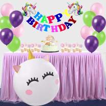 "Unicorn DIY Happy Birthday Party Decorations Set,Unicorn Theme Colorful Party Favores Supplies,Unicorn Foil Balloon Rainbow Birthday Banner,12"" & 36"" Unicorn Latex Ballon"