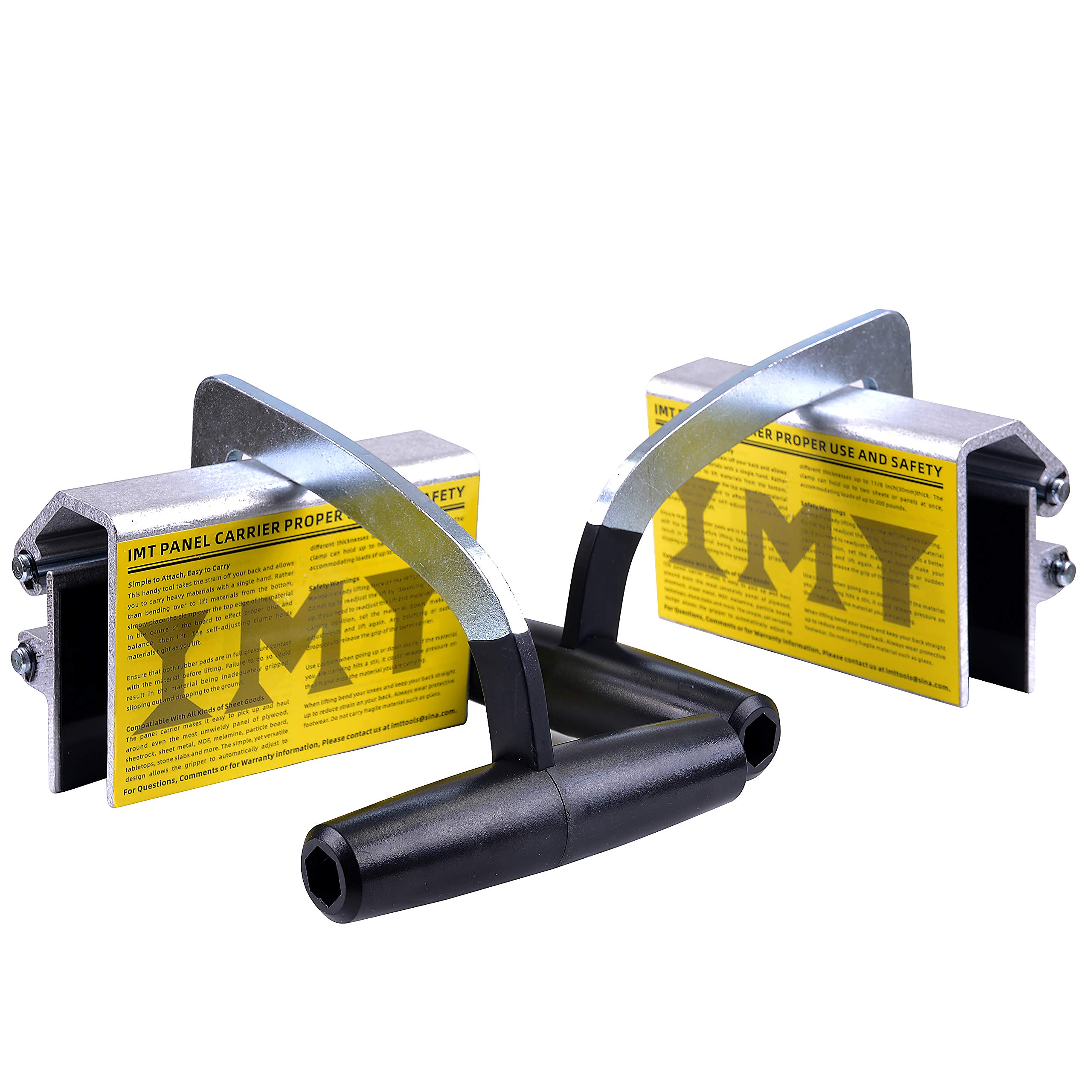 """IMT Panel Carrier 2 Pack, Drywall Power Gripper with Metal Handle, Heavy Duty Sheetrock Lifter Handy Carrying Tool for Wood/Board/Plastic/Sheet Metal/Plywood, Self-Adjusting from 0-1 1/8"""", 200lb"""