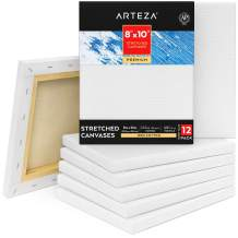 """Arteza 8x10"""" Premium Stretched Canvas, Pack of 12, Primed, 100% Cotton for Painting, Acrylic Pouring, Oil Paint & Wet Art Media, Canvases for Artist, Hobby Painters & Beginner"""