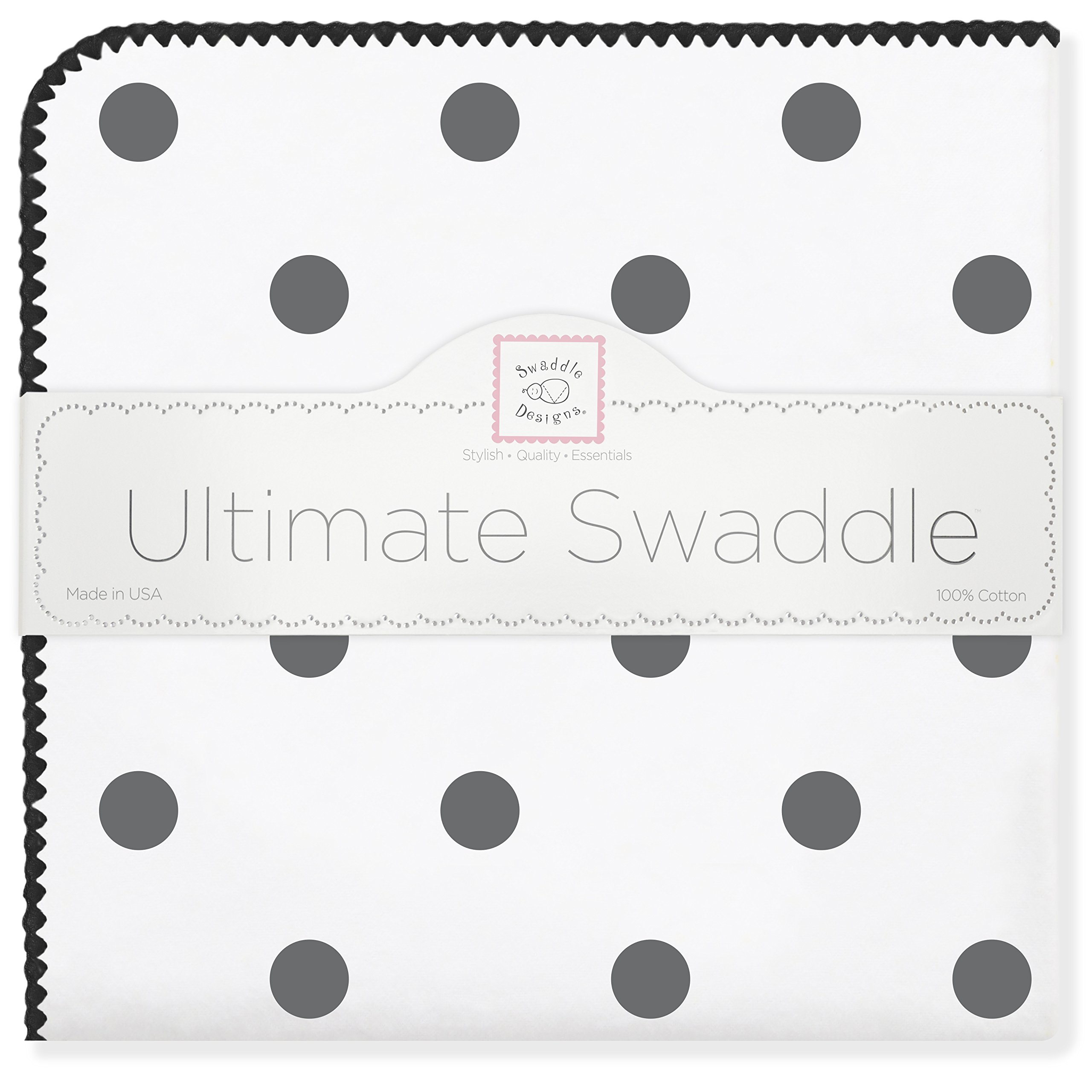 SwaddleDesigns Ultimate Swaddle, X-Large Receiving Blanket, Made in USA, Premium Cotton Flannel, Black Big Dots (Mom's Choice Award Winner)