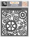 CrafTreat Gear Stencils for Painting on Wood, Canvas, Paper, Fabric, Floor, Wall and Tile - Gears Stencil - 6x6 Inches - Reusable DIY Art and Craft Stencils - Clock Gear Stencil