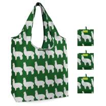 Grocery Shopping Bag Machine Washable Eco-friendly Reusable Tote Foldable with Attached Pouch Durable Animal Shopping Tote Bag Cute Alpaca Pattern Set of 3 (Green)