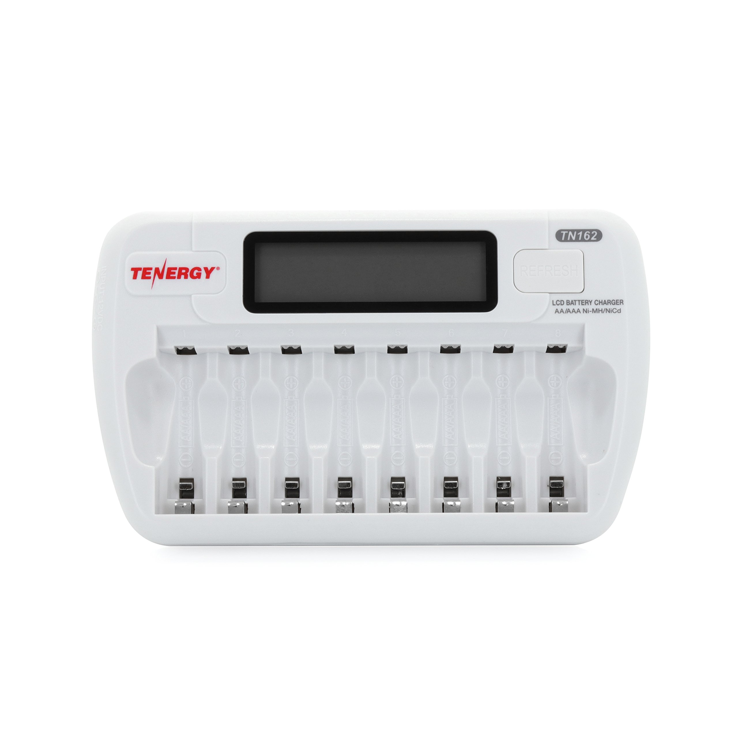 Tenergy TN162 8-Bay Smart LCD Battery Charger for Rechargeable AA/AAA NiMH/NiCd