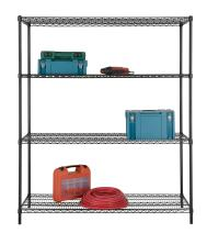 Excel ES-602472P NSF Certified All Purpose 4-Tier Shelving, 60 x 72 x 24 Inch, Black