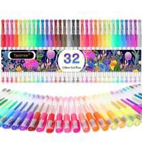 Glitter Gel Pens, 32-Color Neon Glitter Pens Fine Tip Art Markers Set 40% More Ink Colored Gel Pens for Adult Coloring Book, Drawing, Doodling, Scrapbook, Bullet Journal, Sparkle Gel Pen Gift for Kids