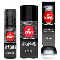 KIWI Sneaker and Shoe Cleaner Kit | Deodorizer for Shoes, Sneakers, Leather and More | 1 Cleaner, 1 Protector, 1 Deodorizer