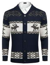 COOFANDY Mens Christmas Reindeer Snowflake Cardigan Sweater Shawl Collar Knitted Cardigans Button Down Knitwear