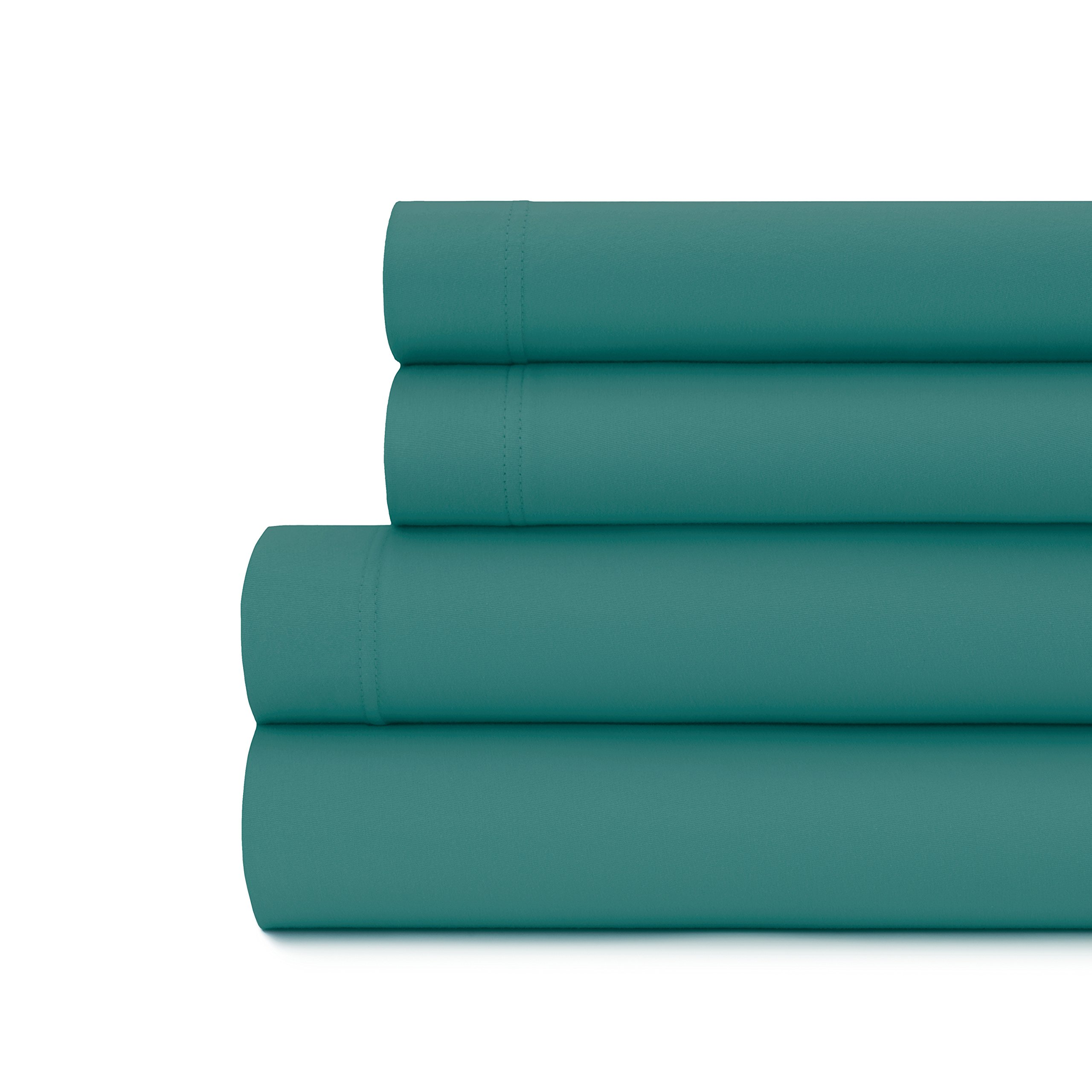 Briarwood Home Cal King Size Jersey Knit Sheet Set - 4 Pc Super Soft 100% Cotton Breathable Bed Sheets – Deep Pocket, Easy Fit – Comfortable, Cozy T-Shirt Soft – All Season Bedding (Cal King, Teal)